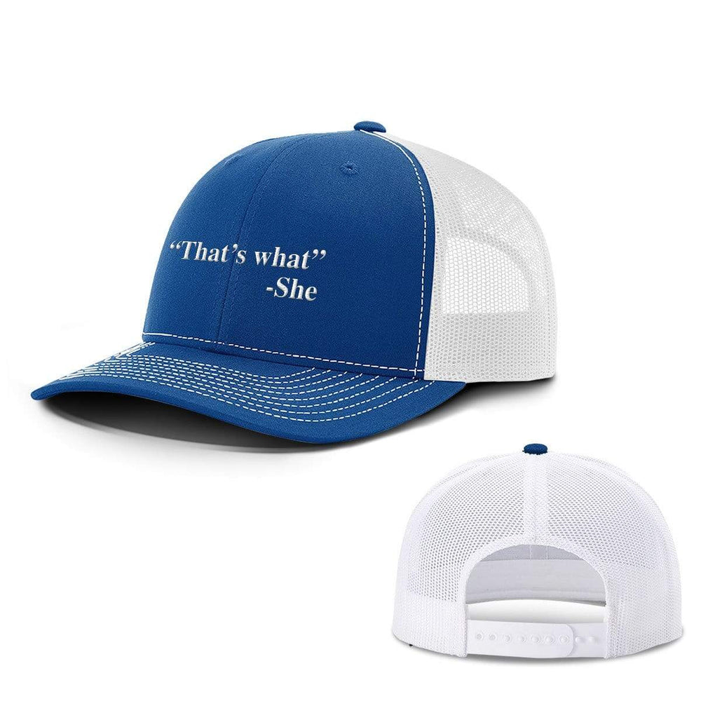 BustedTees.com Snapback / Royal Blue and White / One Size That's What She Said Hats