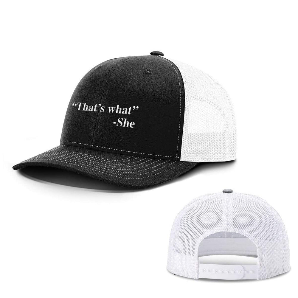 BustedTees.com Snapback / Black and White / One Size That's What She Said Hats