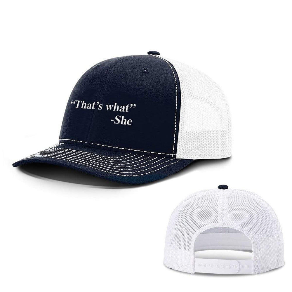 BustedTees.com Snapback / Navy and White / One Size That's What She Said Hats
