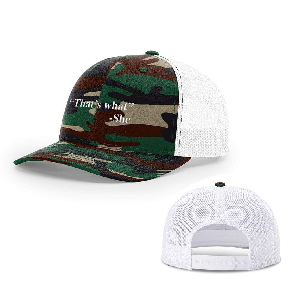 BustedTees.com Snapback / Green Camo and White / One Size That's What She Said Hats