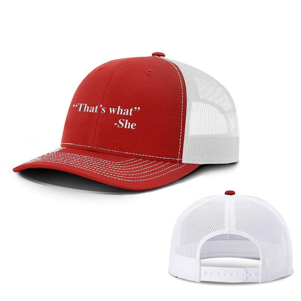 BustedTees.com Snapback / Red And White / One Size That's What She Said Hats