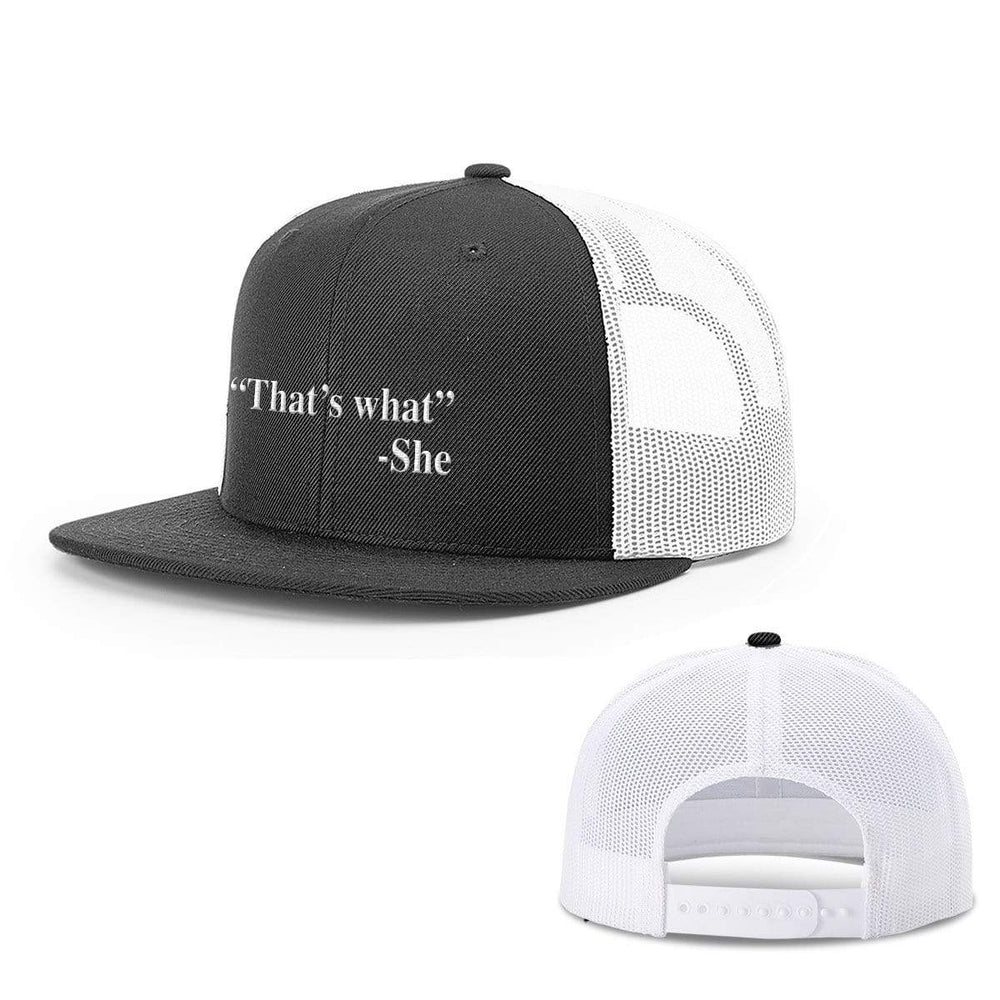 BustedTees.com Snapback Flatbill / Black and White / One Size That's What She Said Hats