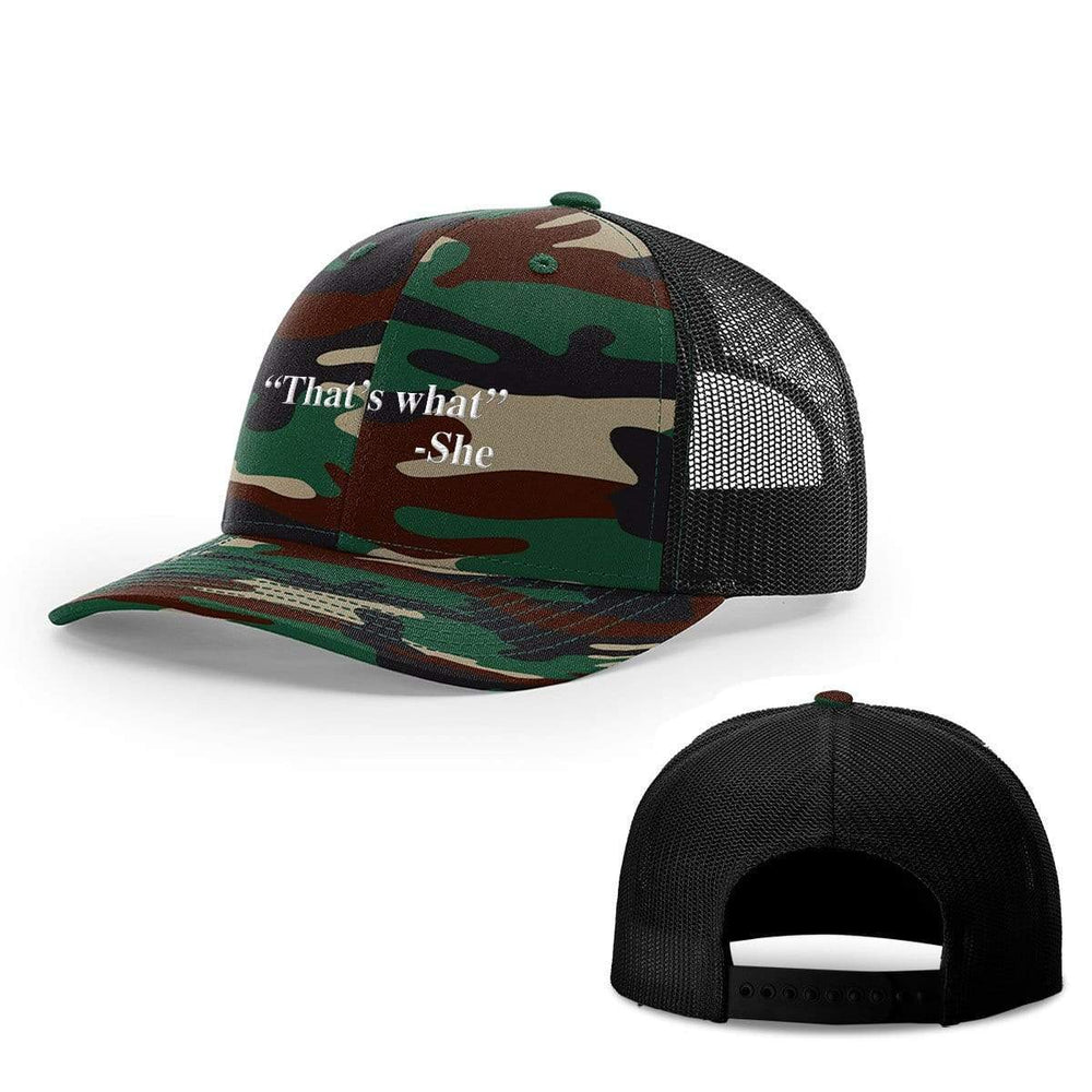 BustedTees.com Snapback / Green Camo and Black / One Size That's What She Said Hats