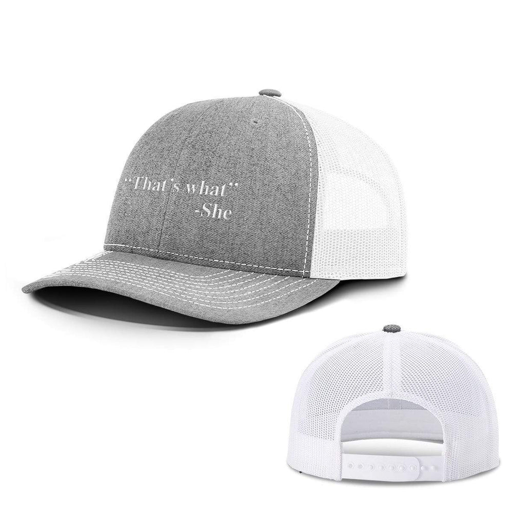 BustedTees.com Snapback / Heather and White / One Size That's What She Said Hats