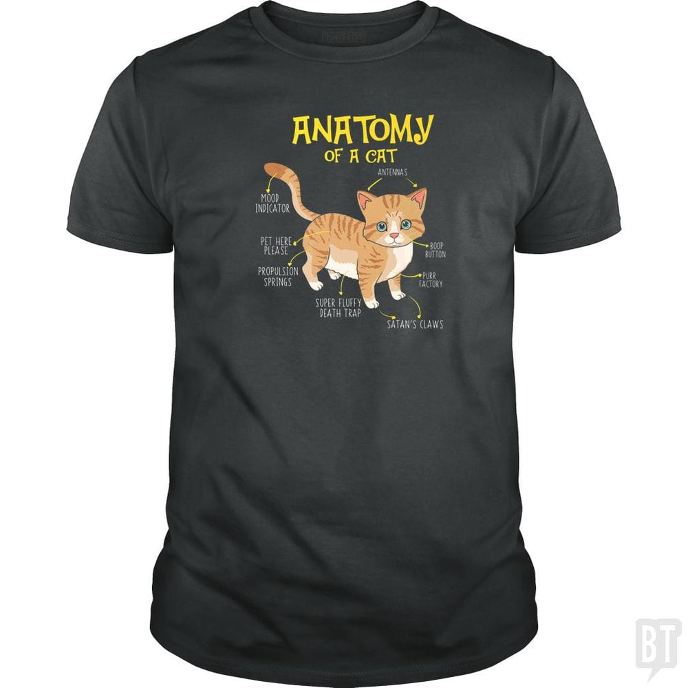 Funny Anatomy Of A Cat Kitten Kitty Feline T-shirt