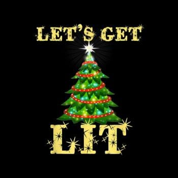 Lets Get Lit Drinking Funny Christmas