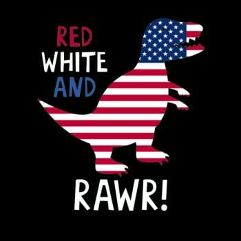 SunFrog-Busted Anjaka Dinosaur Rawr American Flag Patriotic Red White T-