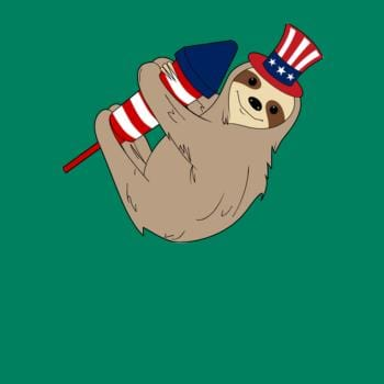 SunFrog-Busted Anjaka Rocket Firecracker Sloth American Flag 4th July