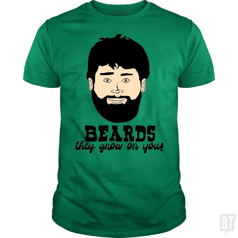 SunFrog-Busted BustedTees Classic Guys / Unisex Tee / Irish Green / S Beards: They Grow On You!