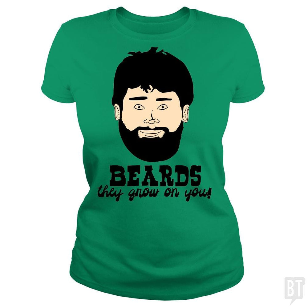 SunFrog-Busted BustedTees Classic Ladies Tee / Irish Green / S Beards: They Grow On You!