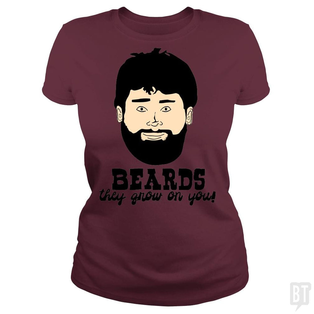 SunFrog-Busted BustedTees Classic Ladies Tee / Maroon / S Beards: They Grow On You!