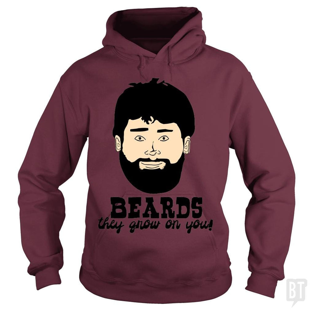 SunFrog-Busted BustedTees Hoodie / Maroon / S Beards: They Grow On You!
