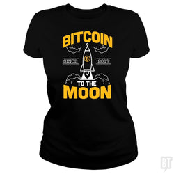 SunFrog-Busted BustedTees Classic Ladies Tee / Black / S Bitcoin To The Moon