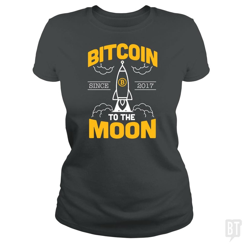 SunFrog-Busted BustedTees Classic Ladies Tee / Dark Heather / S Bitcoin To The Moon