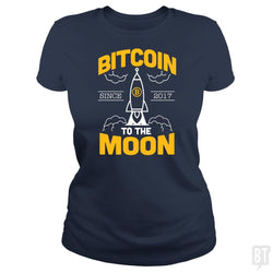 SunFrog-Busted BustedTees Classic Ladies Tee / Navy Blue / S Bitcoin To The Moon