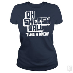 SunFrog-Busted BustedTees Classic Ladies Tee / Navy Blue / S Jake and Amir: Oh Sheesh Y'all
