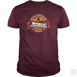 SunFrog-Busted BustedTees Classic Guys / Unisex Tee / Maroon / S Social Distancing World Champ