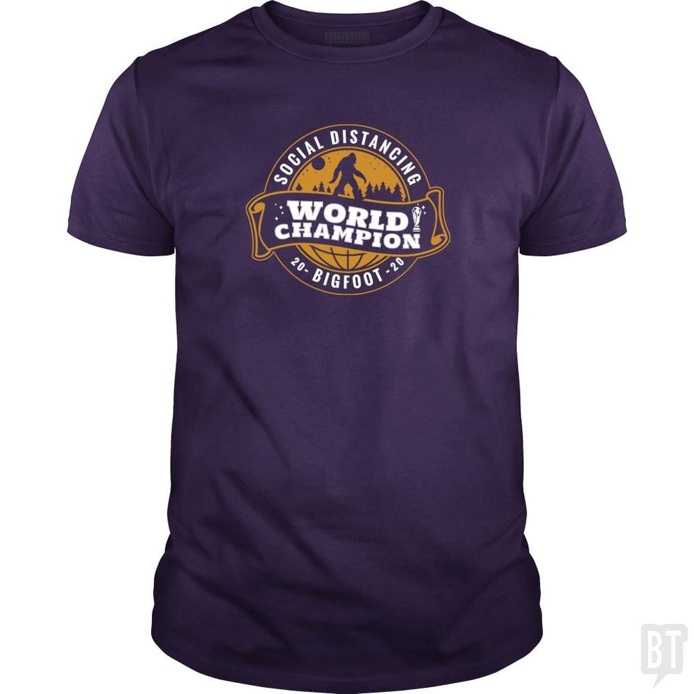 SunFrog-Busted BustedTees Classic Guys / Unisex Tee / Purple / S Social Distancing World Champ