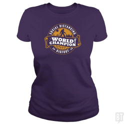 SunFrog-Busted BustedTees Classic Ladies Tee / Purple / S Social Distancing World Champ