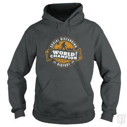 SunFrog-Busted BustedTees Hoodie / Dark Heather / S Social Distancing World Champ