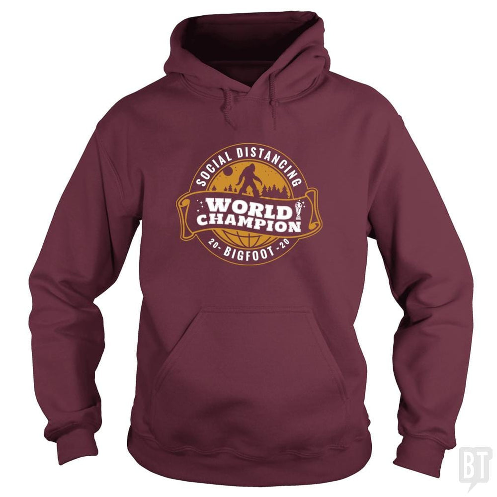 SunFrog-Busted BustedTees Hoodie / Maroon / S Social Distancing World Champ