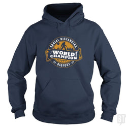 SunFrog-Busted BustedTees Hoodie / Navy Blue / S Social Distancing World Champ