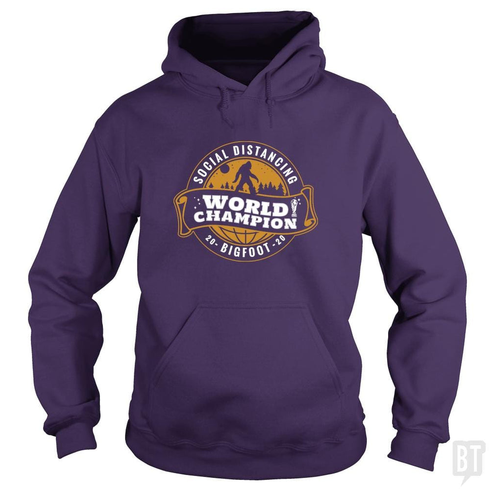 SunFrog-Busted BustedTees Hoodie / Purple / S Social Distancing World Champ