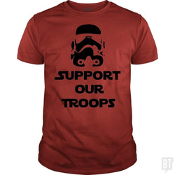 SunFrog-Busted BustedTees Classic Guys / Unisex Tee / Red / S Support our Troops