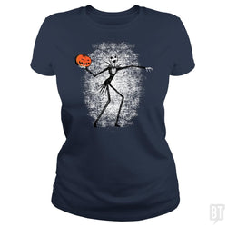 SunFrog-Busted Daletheskater Classic Ladies Tee / Navy Blue / S Throwing Pumpkins