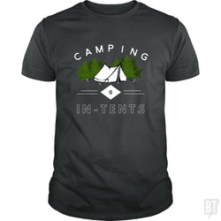 SunFrog-Busted Drandorxxx Classic Guys / Unisex Tee / Dark Heather / S Camping is in-tents, funny word play