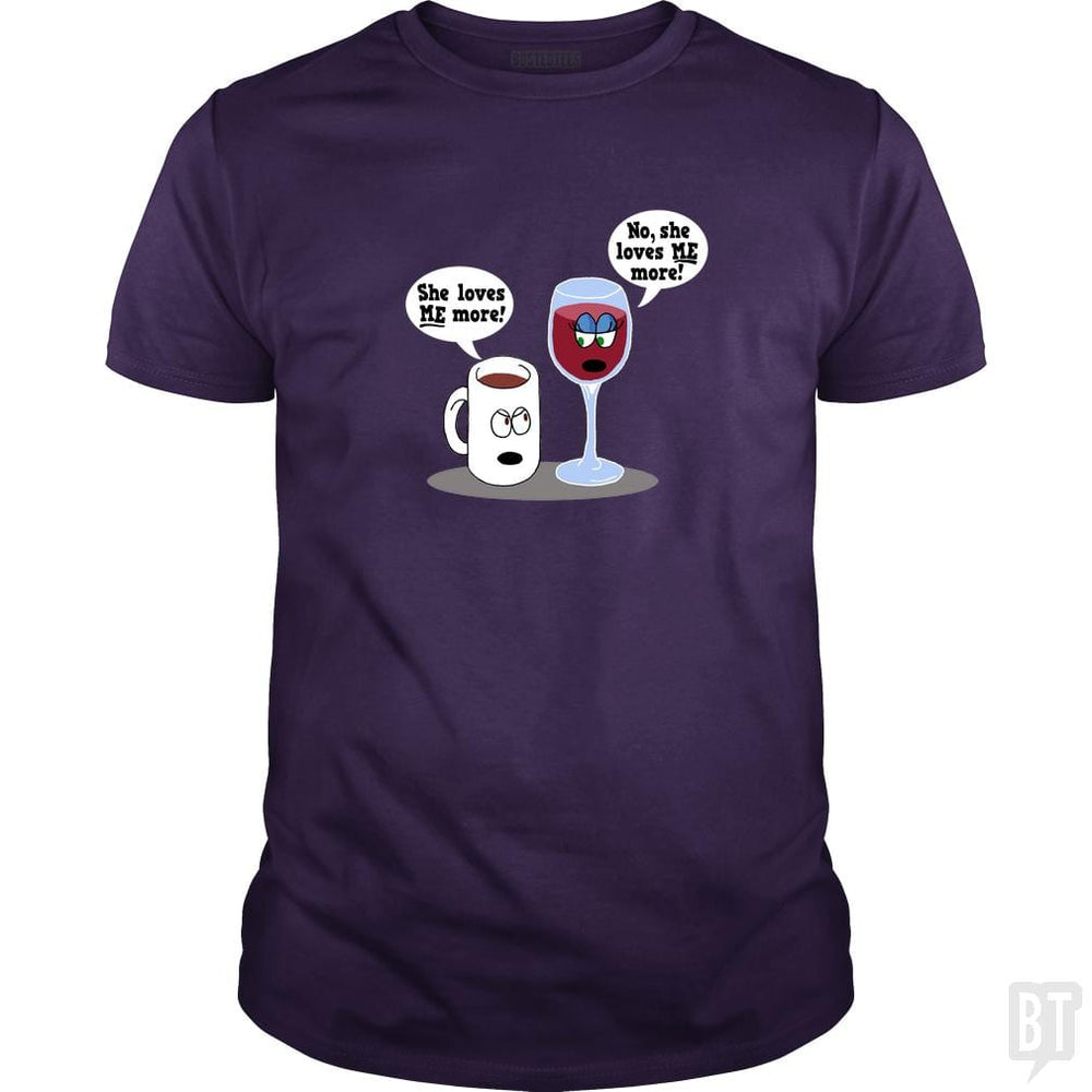 SunFrog-Busted Dwarmuth Classic Guys / Unisex Tee / Purple / S Coffee vs Wine She Loves Me More!