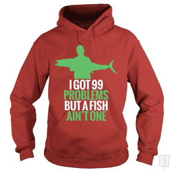 SunFrog-Busted Funky Hippo Hoodie / Red / S 99 Problems Fish Ain't One