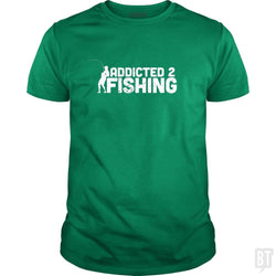 SunFrog-Busted Funky Hippo Classic Guys / Unisex Tee / Irish Green / S Addicted 2 Fishing