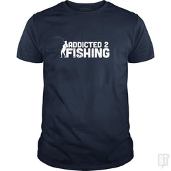 SunFrog-Busted Funky Hippo Classic Guys / Unisex Tee / Navy Blue / S Addicted 2 Fishing