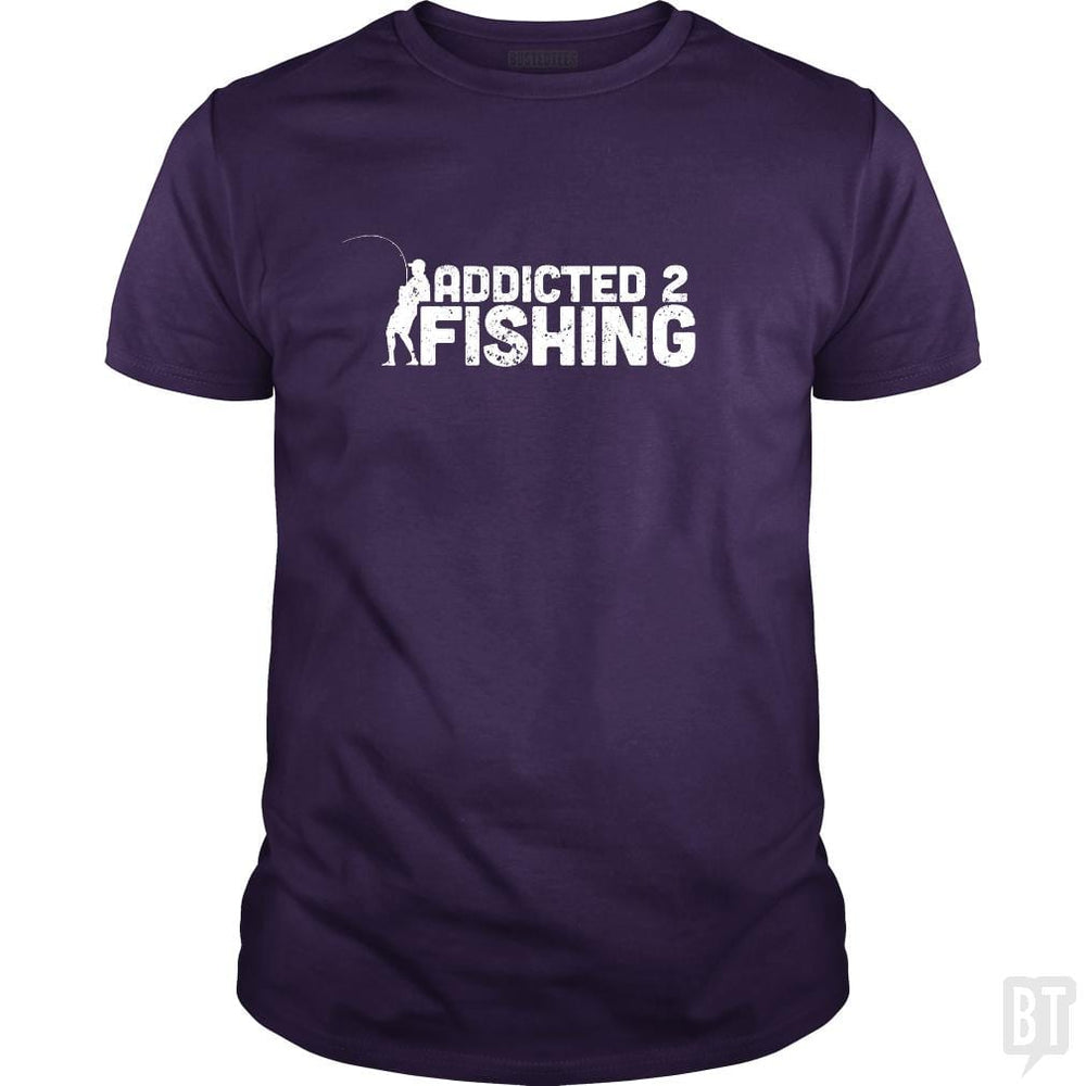 SunFrog-Busted Funky Hippo Classic Guys / Unisex Tee / Purple / S Addicted 2 Fishing