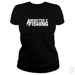 SunFrog-Busted Funky Hippo Classic Ladies Tee / Black / S Addicted 2 Fishing