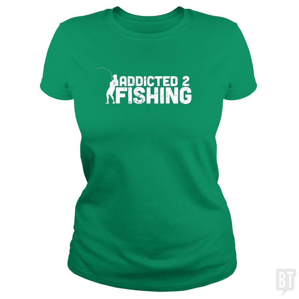 SunFrog-Busted Funky Hippo Classic Ladies Tee / Irish Green / S Addicted 2 Fishing