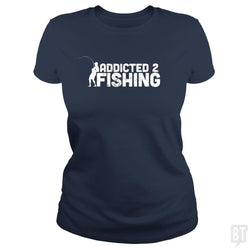 SunFrog-Busted Funky Hippo Classic Ladies Tee / Navy Blue / S Addicted 2 Fishing