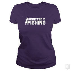 SunFrog-Busted Funky Hippo Classic Ladies Tee / Purple / S Addicted 2 Fishing