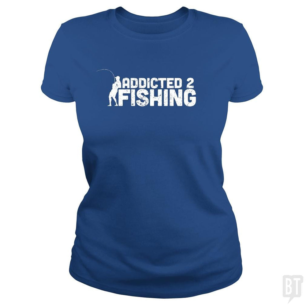 SunFrog-Busted Funky Hippo Classic Ladies Tee / Royal Blue / S Addicted 2 Fishing
