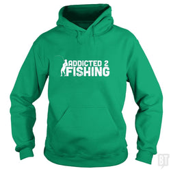 SunFrog-Busted Funky Hippo Hoodie / Irish Green / S Addicted 2 Fishing