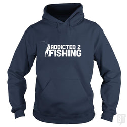 SunFrog-Busted Funky Hippo Hoodie / Navy Blue / S Addicted 2 Fishing