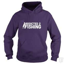 SunFrog-Busted Funky Hippo Hoodie / Purple / S Addicted 2 Fishing