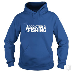 SunFrog-Busted Funky Hippo Hoodie / Royal Blue / S Addicted 2 Fishing
