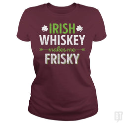 SunFrog-Busted Funky Hippo Classic Ladies Tee / Maroon / S Irish Whiskey Makes Me Frisky
