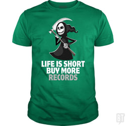 SunFrog-Busted Funky Hippo Classic Guys / Unisex Tee / Irish Green / S Life Is Short Buy More Records
