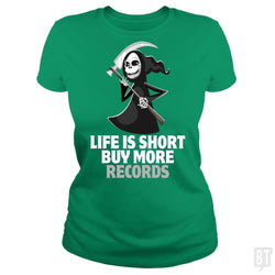SunFrog-Busted Funky Hippo Classic Ladies Tee / Irish Green / S Life Is Short Buy More Records