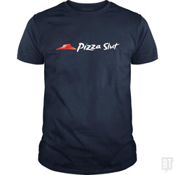 SunFrog-Busted Funky Hippo Classic Guys / Unisex Tee / Navy Blue / S Pizza Slut