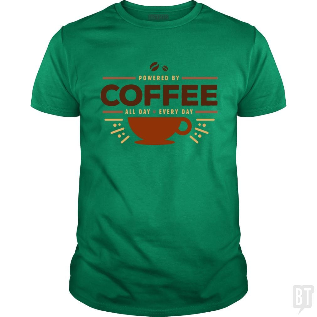 SunFrog-Busted Funky Hippo Classic Guys / Unisex Tee / Irish Green / S Powered By Coffee
