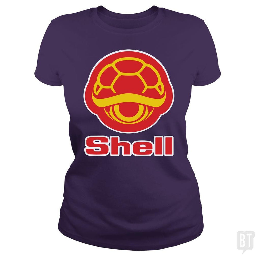 SunFrog-Busted Funky Hippo Classic Ladies Tee / Purple / S Shell